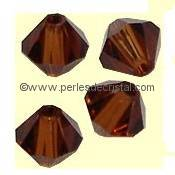 50 BICONES 4MM CRISTAL SWAROVSKI COLOURS SMOKED TOPAZ #5301