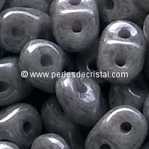 10GR SUPERDUO 2.5X5MM EN VERRE COLORIS OPAQUE GREY CERAMIC LOOK