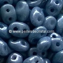 10GR SUPERDUO 2.5X5MM EN VERRE COLORIS OPAQUE BLUE CERAMIC LOOK