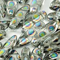 50 DAGUES 5X16MM EN VERRE COLORIS OPAQUE GREY PEACOCK 2810A