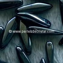 50 DAGGERS 5X16MM GLASS COLOURS JET HEMATITE - 23980/14400