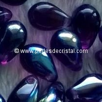 25 DROPS BOHEMIAN 6X9MM GLASS COLOURS AMETHYST AB