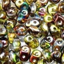10GR SUPERDUO 2.5X5MM EN VERRE COLORIS CRYSTAL MAGIC YELLOW BROWN