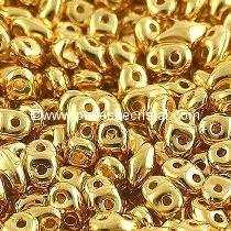 10GR SUPERDUO 2.5X5MM EN VERRE COLORIS REAL GOLD - DORE 24 CARATS 00030/35000
