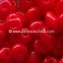 10GR SUPERDUO 2.5X5MM GLASS COLOURS OPAQUE CORAL RED 93200