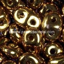 10GR SUPERDUO 2.5X5MM EN VERRE COLORIS GOLD BRONZE 24 CARATS