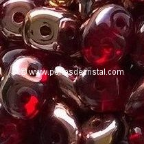 10GR SUPERDUO 2.5X5MM GLASS COLOURS RUBY CAPRI GOLD 90080/27101