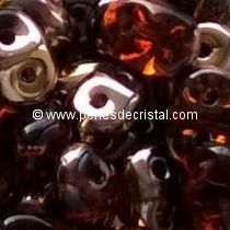 10GR SUPERDUO 2.5X5MM GLASS COLOURS SMOKED TOPAZ CAPRI GOLD