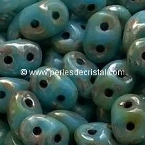 10GR SUPERDUO 2.5X5MM GLASS COLOURS OPAQUE TURQUOISE BLUE PICASSO