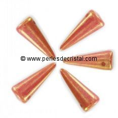8 SPIKES 5X13MM EN VERRE COLORIS OPAQUE ROUGE ORANGE ROSE CERAMIC LOOK