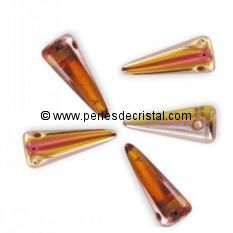 8 SPIKES 5X13MM EN VERRE COLORIS TOPAZ CAPRI GOLD