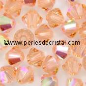 50 BICONES 4MM CRISTAL SWAROVSKI COLOURS LIGHT ROSE AB #5301