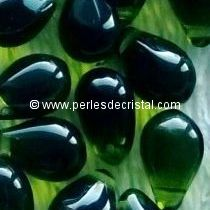 25 DROPS BOHEMIAN 6X9MM GLASS COLOURS OLIVINE