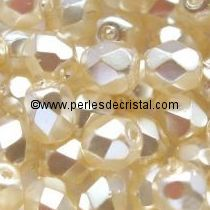 50 BOHEMIAN GLASS FIRE POLISHED FACETED ROUND BEADS 4MM COLOURS CREAM PEARL 00030/70411