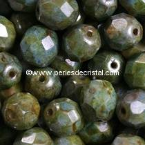 50 BOHEMIAN GLASS FIRE POLISHED FACETED ROUND BEADS 4MM COLOURS MIX BLEU VERT CERAMIC LOOK