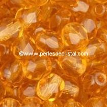 50 BOHEMIAN GLASS FIRE POLISHED FACETED ROUND BEADS 4MM TOPAZ 10060