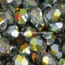 50 BOHEMIAN GLASS FIRE POLISHED FACETED ROUND BEADS 4MM CRYSTAL MAREA 00030/28001