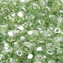 50 BOHEMIAN GLASS FIRE POLISHED FACETED ROUND BEADS 4MM COLOURS LIGHT OLIVINE LUSTER 50210/14400
