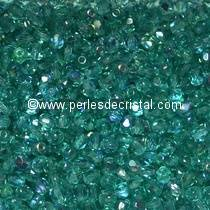 50 BOHEMIAN GLASS FIRE POLISHED FACETED ROUND BEADS 4MM ZIRCON GREEN MEDIUM AB 60200/28701