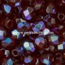 50 BOHEMIAN GLASS FIRE POLISHED FACETED ROUND BEADS 4MM COLOURS SIAM AB 90110/28701