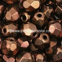 25 BOHEMIAN GLASS FIRE POLISHED FACETED ROUND BEADS 6MM COLOURS DARK BRONZE 23980/14415
