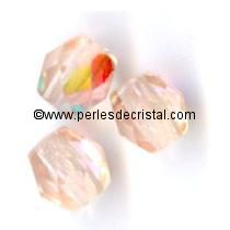 20 FACETTES 8MM CRISTAL VERRE DE BOHEME COLORIS LIGHT PEACH AB - LIGHT ROSE AB