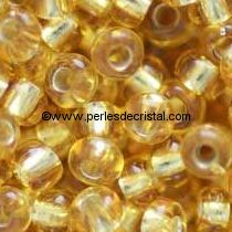 10gr PERLES MINI ROCAILLES TCHEQUE ORNELA 11/0 - 2MM COLORIS LIGHT TOPAZ-DOREE SILVER LINED
