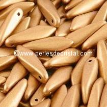 50 DAGUES 5X16MM EN VERRE COLORIS LIGHT GOLD MAT 01710 - AZTEC GOLD