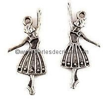 CHARMS PENDENT : GIRL DANCER SILVER  32 X 13.5MM