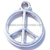 CHARMS PENDENT : PEACE AND LOVE SILVER 