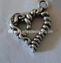 CHARMS / PENDENT : HEART SILVER  22 X 17MM