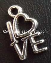 CHARMS / PENDENT : HEART I LOVE YOU  14.5 X 8MM