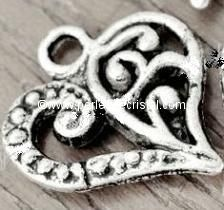 CHARMS PENDENT : HEART SILVER  14 X 13MM