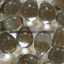 25 DROPS BOHEMIAN 6X9MM GLASS COLOURS BLACK DIAMOND