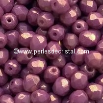 50 BOHEMIAN GLASS FIRE POLISHED FACETED ROUND BEADS 4MM COLOURS OPAQUE MIX PURPLE/GOLD CERAMIC LOOK LUSTER