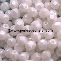 50 BOHEMIAN GLASS FIRE POLISHED FACETED ROUND BEADS 4MM COLOURS OPAQUE WHITE CERAMIC LOOK LUSTER 03000/14400