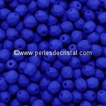 50 BOHEMIAN GLASS FIRE POLISHED FACETED ROUND BEADS 4MM COLOURS BLUE NEON MAT 02010/25126
