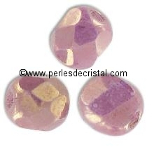 25 BOHEMIAN GLASS FIRE POLISHED FACETED ROUND BEADS 6MM COLOURS OPAQUE MIX LILAS/GOLD CERAMIC LOOK - LUSTER 03000/65491