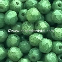 25 BOHEMIAN GLASS FIRE POLISHED FACETED ROUND BEADS 6MM COLOURS OPAQUE GREEN CERAMIC LOOK - LUSTER 03000/14459