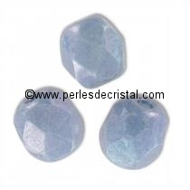 25 BOHEMIAN GLASS FIRE POLISHED FACETED ROUND BEADS 6MM COLOURS OPAQUE BLUE CERAMIC LOOK - LUSTER 03000/14464
