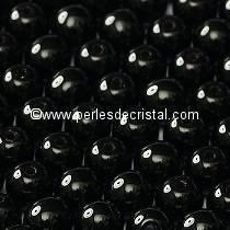 50 PERLES RONDES LISSES 4MM JET - NOIR 23980
