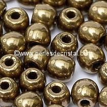 50 SMOOTH ROUND BEADS 4MM GOLD BRONZE 24 CARATS