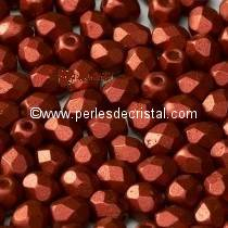 25 BOHEMIAN GLASS FIRE POLISHED FACETED ROUND BEADS 6MM COLOURS BRONZE RED MAT 00030/01750