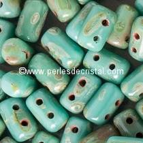 10GR RULLA 3X5MM EN VERRE COLORIS OPAQUE GREEN TURQUOISE TRAVERTIN DARK
