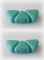 10GR KHEOPS® BY PUCA BEADS 6MM - TRIANGLE GLASS COLOURS OPAQUE GREEN TURQUOISE 63130