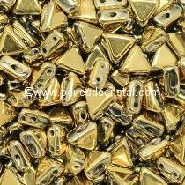 10GR KHEOPS® PAR PUCA® 6MM PERLES EN VERRE TRIANGLE COLORIS DORE  - OR - FULL DORADO