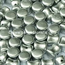 50 PELLETS / DIABOLO 4X6MM GLASS COLOURS SILVER ALUMINIUM MAT 01700
