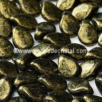 50 PIP BEADS 5X7MM GLASS COLOURS JET GOLD 23980/56902 - BLACK