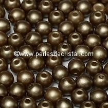 50 PERLES RONDES LISSES 4MM PASTEL LIGHT BROWN COCO - 02010/25005