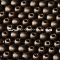 50 PERLES RONDES LISSES 4MM PASTEL DARK BROWN BRONZE - 02010-25036